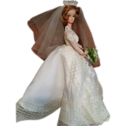 Barbie Clone Lilli red hair bridal gown marked HK on feet 1960's
