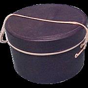 "Navy Blue 1950's Doll round hat box vinyl  4"" tall 6"" across"