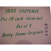 1880 Costumes for 18 inch china doll Betty James Originals Pattern