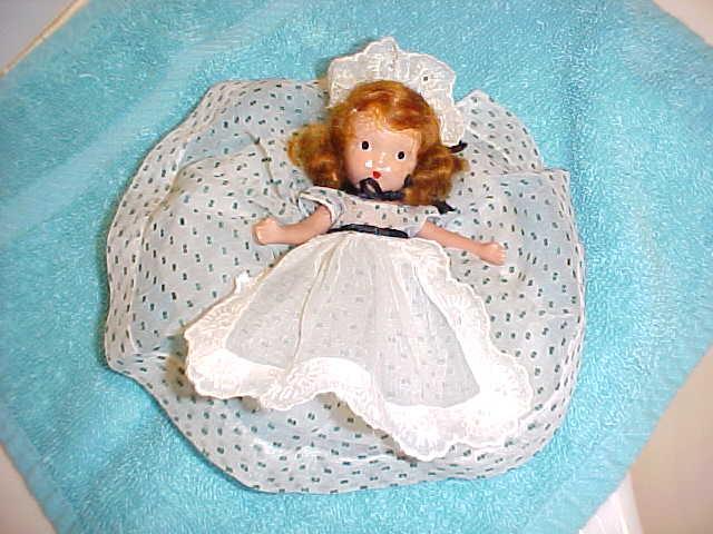 Red head nancy ann storybook doll usa 11 green polkadot dress bisque