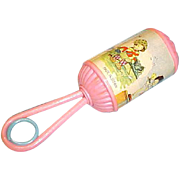 """Vintage celluloid 8"""" baby rattle Japan Roly Poly pictures, great doll prop"""
