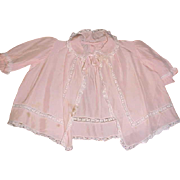Stunning pink vintage baby silk bed jacket lace and pleats