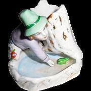 Vintage Porcelain Little Boy Catching a Frog Match Holder Strike