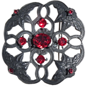 Vintage Black Japaned & Ruby Red Rhinestone Pin