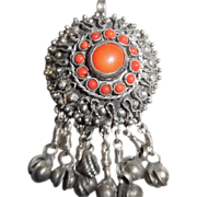 Vintage /Antique Tribal German Silver Real Red Coral Pendant