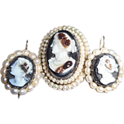Antique Victorian 14k Hard Stone Cameo Natural Seed Pearl Set