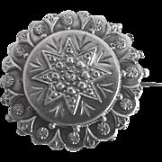 Antique Victorian Sterling Silver Round British Pin