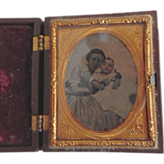 Antique Victorian Mother & Baby Tintype in Gutta Percha Box Frame
