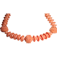 1930's Molded Coral Plastic Bead Art Deco Necklace