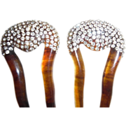 Vintage Art Deco  Rhinestone Plastic Faux Tortoiseshell Matching Hair Combs