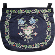 Vintage Chinese Silk Forbidden Stitch Embroidered Purse