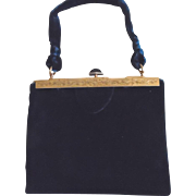 Vintage French Hallmark Royal Blue Velvet Evening Bag Purse