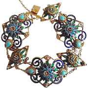 Vintage Gorgeous  Chinese Enameled Chinese Turquoise Silver Vermeil Bracelet