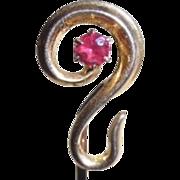 Antique 14K Pink Tourmaline Nouveau Stick Pin