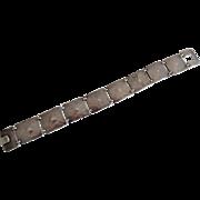 Vintage Arts & Crafts Era Hand Hammered 800 Silver Bracelet