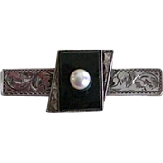 Vintage Japanese Sterling Black Onyx And Cultured Pearl Tie Clasp