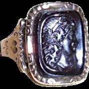Gorgeous Antique Georgian/Victorian 18K Hard Stone Cameo Ring