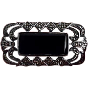 Vintage Art Deco Sterling Black Onyx Marcasite Pin