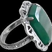 Vintage 1920-30's Deco Fancy Uncas Chrysoprase Ring