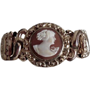Vintage The American Queen Gold Plate Carved Shell Cameo Bracelet
