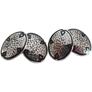 Arts & Crafts Era Sterling Hand Hammered Enamel Cufflinks