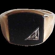 Vintage Men's Solid 10K Black Onyx Diamond Ring