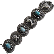 Vintage 1920's Egyptian Revival Wide Silver Plate Filigree Bracelet