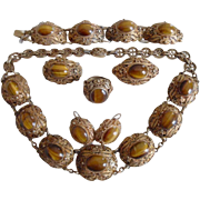 1920's Chinese Export Silver Gilt Tiger Eye 6 Piece Suite