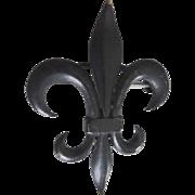 Victorian Black Enamel Fleur-de-Lis Mourning Watch Pin
