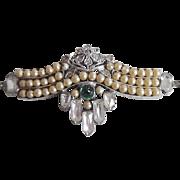Antique Edwardian Belle Epoque Sterling Paste & Faux Pearl Clip