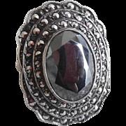 Huge 1920-30's Art Deco Sterling Hematite Marcasite Ring