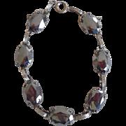 Vintage Art Deco Danecraft Sterling Hematite Link Bracelet