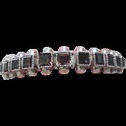 Vintage Sterling Silver Emerald Cut Smoky Quartz Cuff Bracelet