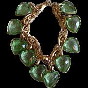 Vintage 1940's Gold Filled Green Paste Heart Dangles Bracelet
