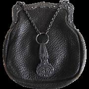 Antique 1895-1910 Gorham Leather Chatelaine Purse