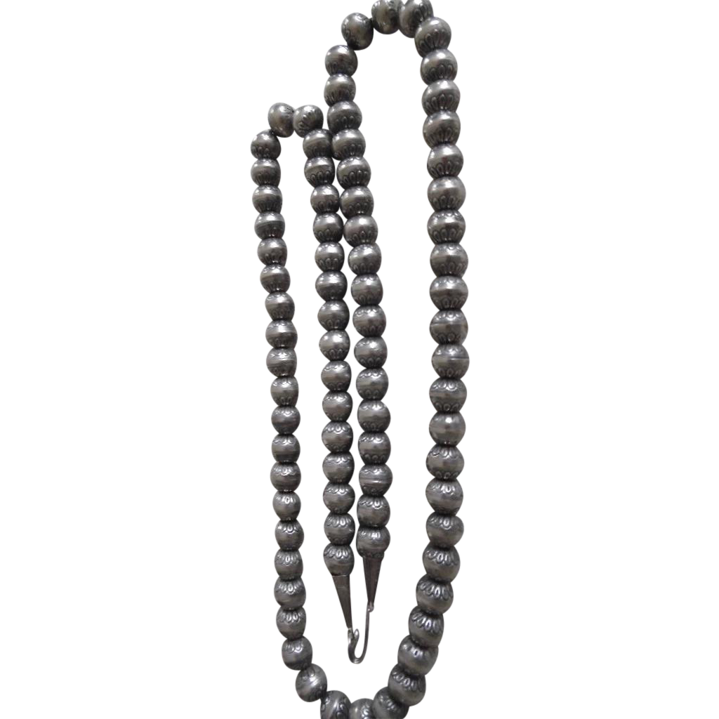 vintage navajo sterling silver st work bead necklace