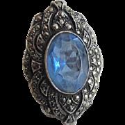 Huge 1920's Art Deco Era Sterling Blue Paste Marcasite Ring