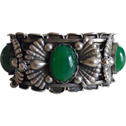 Vintage 800 Silver Chrysoprase Hand Made Italian Pin Hinge Bangle Bracelet