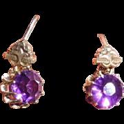Antique Victorian Gilt Brass Amethyst Paste Dangle Earrings