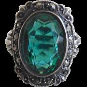 Vntage Sterling Art Deco Uncas Green Paste Marcasite Ring