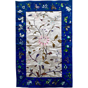 Antique Chinese Silk Embroidered Floral Butterflies Panel