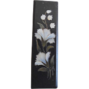 Antique Victorian Pietra Dura Bar Pin With Carnations & Lily of the Valley