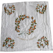 Antique Edwardian French Silk & Lace Ribbon Embroidered Table Cover