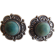 Vintage Mexican Big Sterling Green Stone Button Style Screw Back Earrings