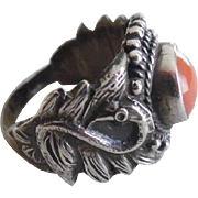 Vintage Sterling Silver Natural Red Coral Swan Ring
