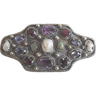 Antique Middle East 800 Silver Pin with Multi Real Gemstones