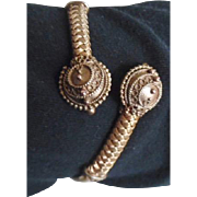 Antique Victorian Etruscan Revival Gold Plated Wrap Bracelet