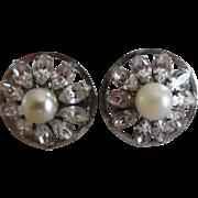 Vintage 12K White Gold Filled Pearl & Clear Rhinestone Pierced Earrings Signed JMS
