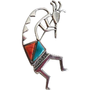 Vintage Sterling Silver Turquoise Coral Native American Kokopelli Pin