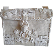 Vintage Cream Natural Woven Straw Purse